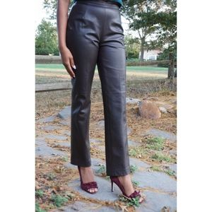 Lafayette 148 New York Brown Leather Pants